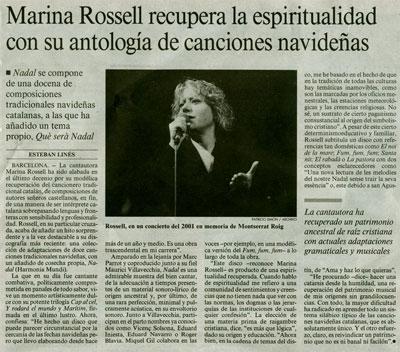 marina rossell recupera la espiritualidad con su antología de canciones navideñas